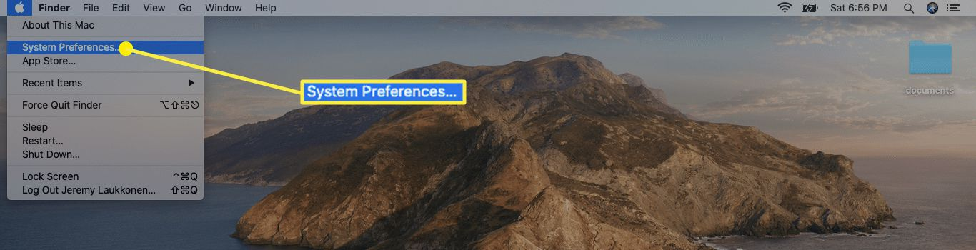 The location of System Preferences on Mac.