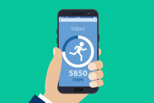 A step count shown on a smartphone.