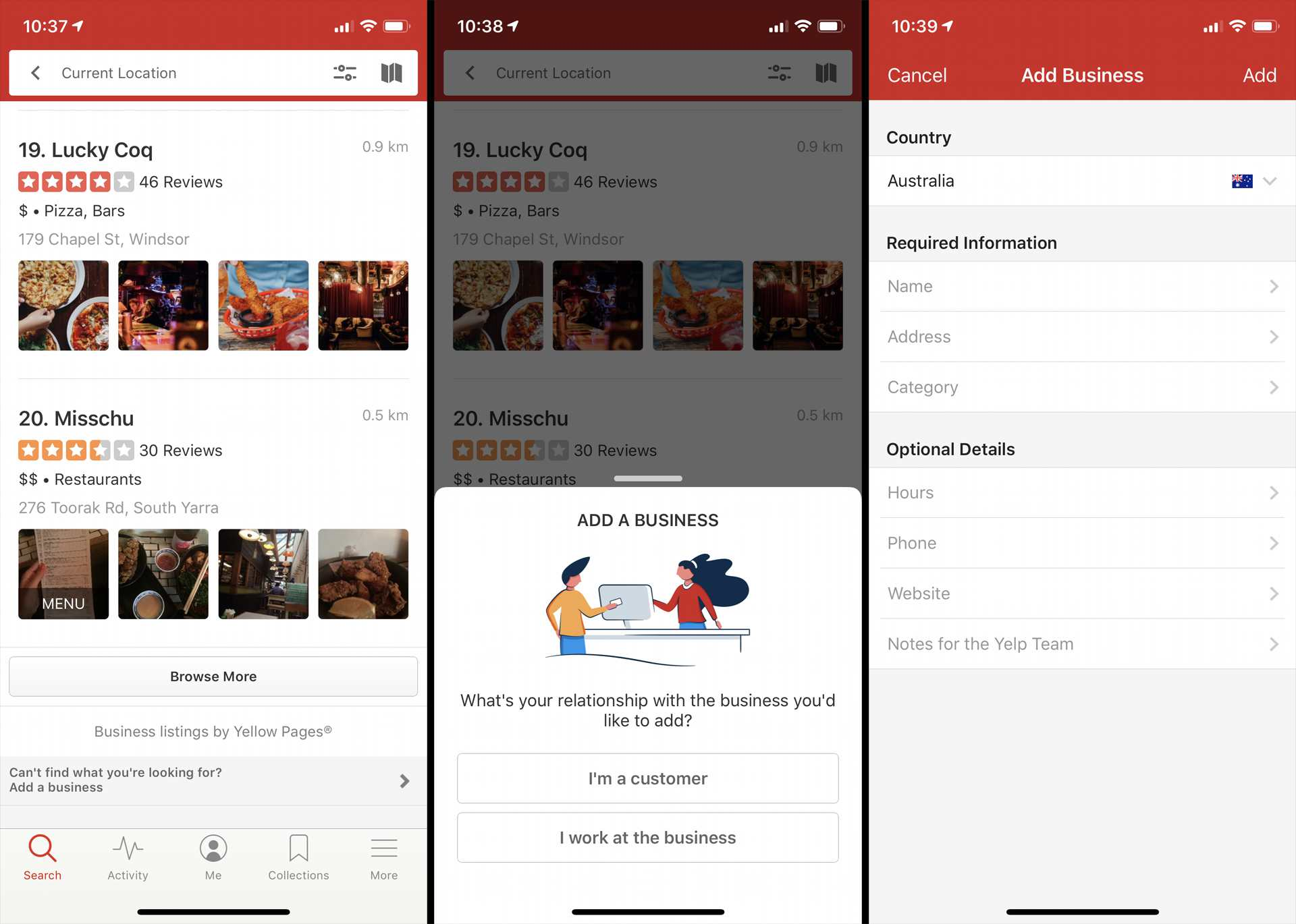 Adding a new business in the Yelp iOS app.