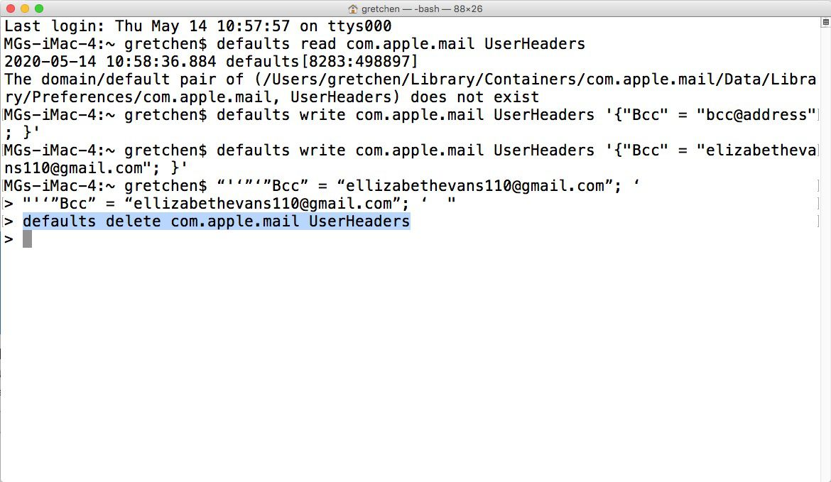 Remove automatic BCC in Apple Mail