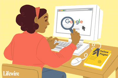 Illustration of a person looking for someone on Google with a magnifying glass. A yellow pages book lies nearby
