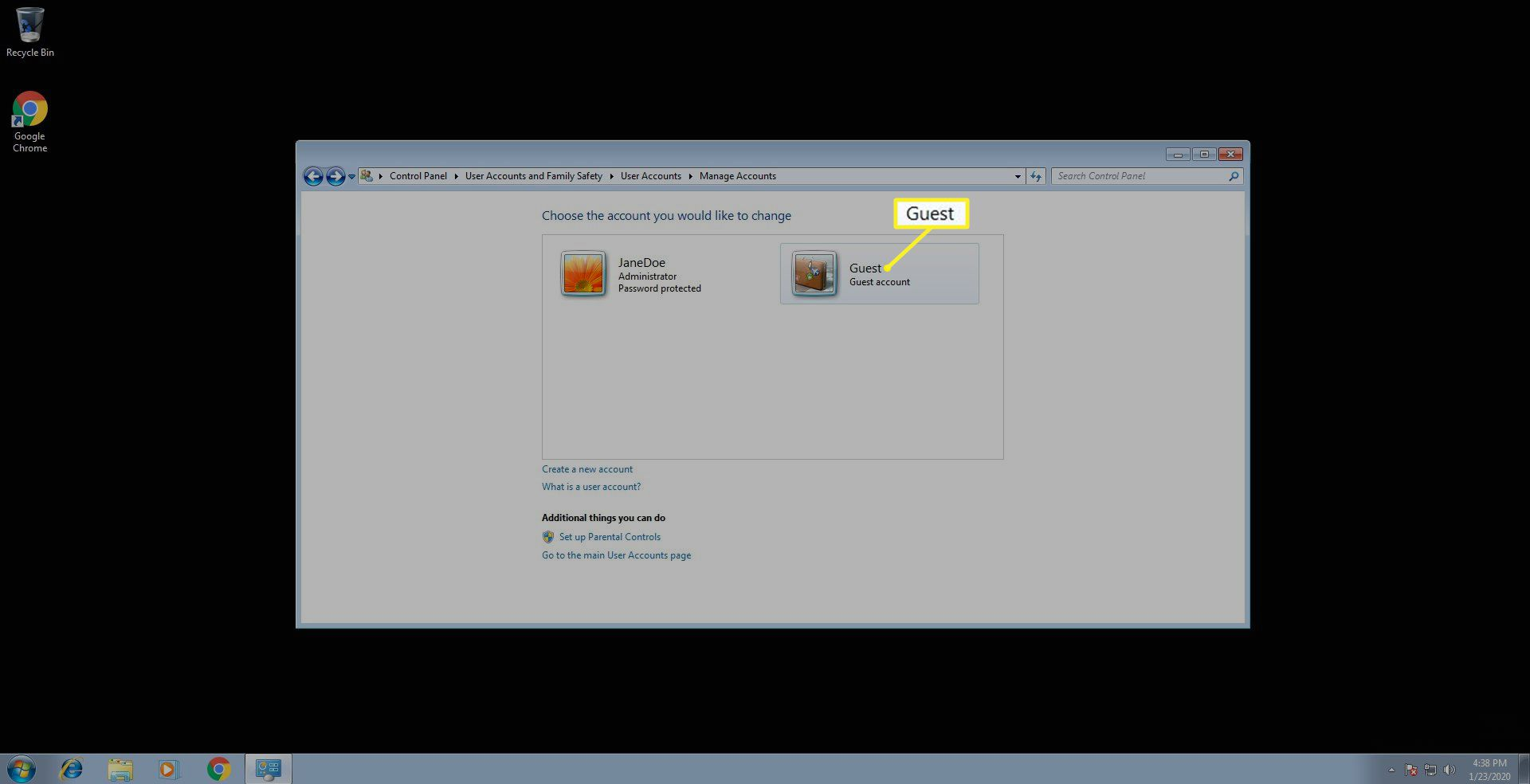 Screen showing enabled Guest Account in Windows 7
