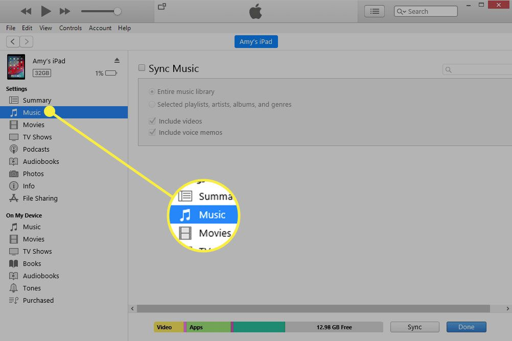 iTunes with the Music tab highlighted