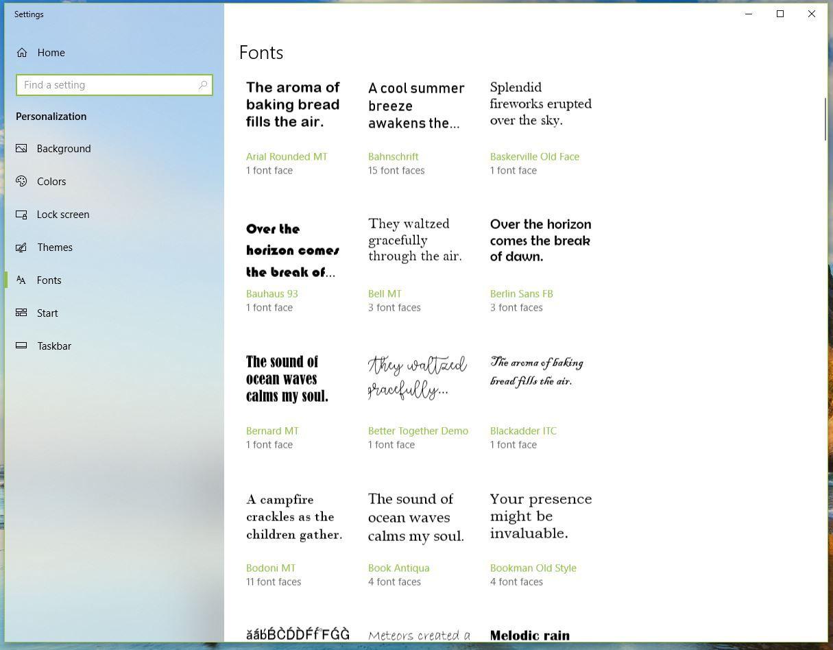 Screenshot of Fonts folder