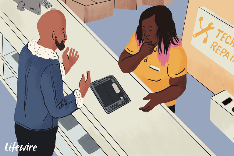 Customer talking about an iPad with a service agent at a repair shop