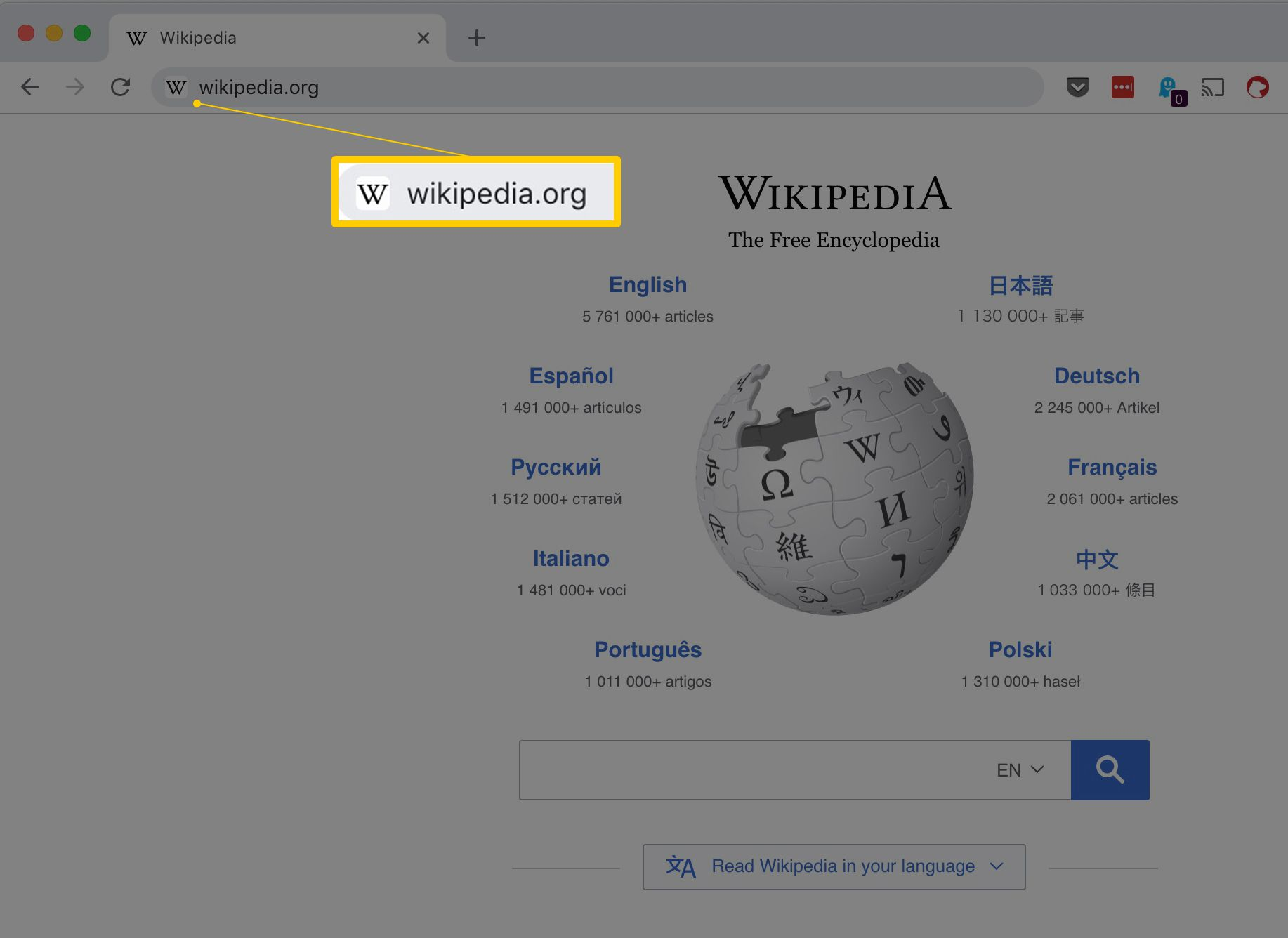 wikipedia.org in a web browser URL bar