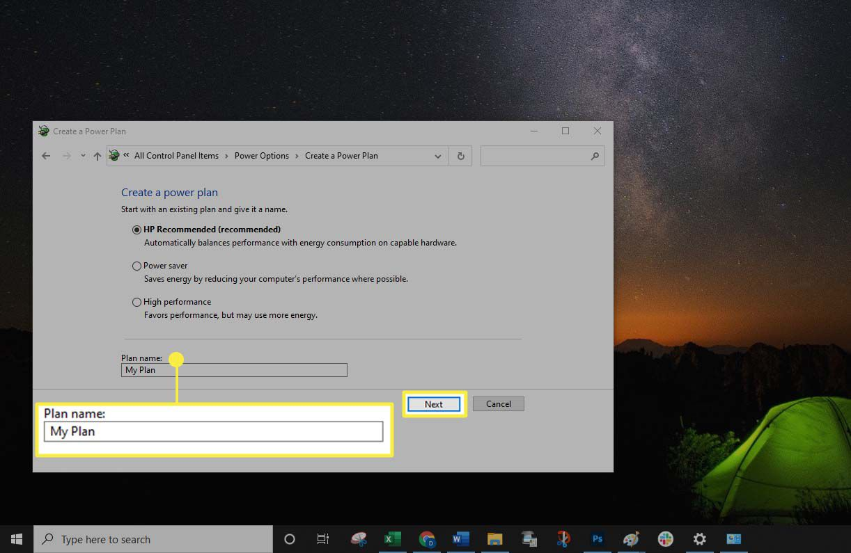 Windows 10 - Creating a name for a power plan.