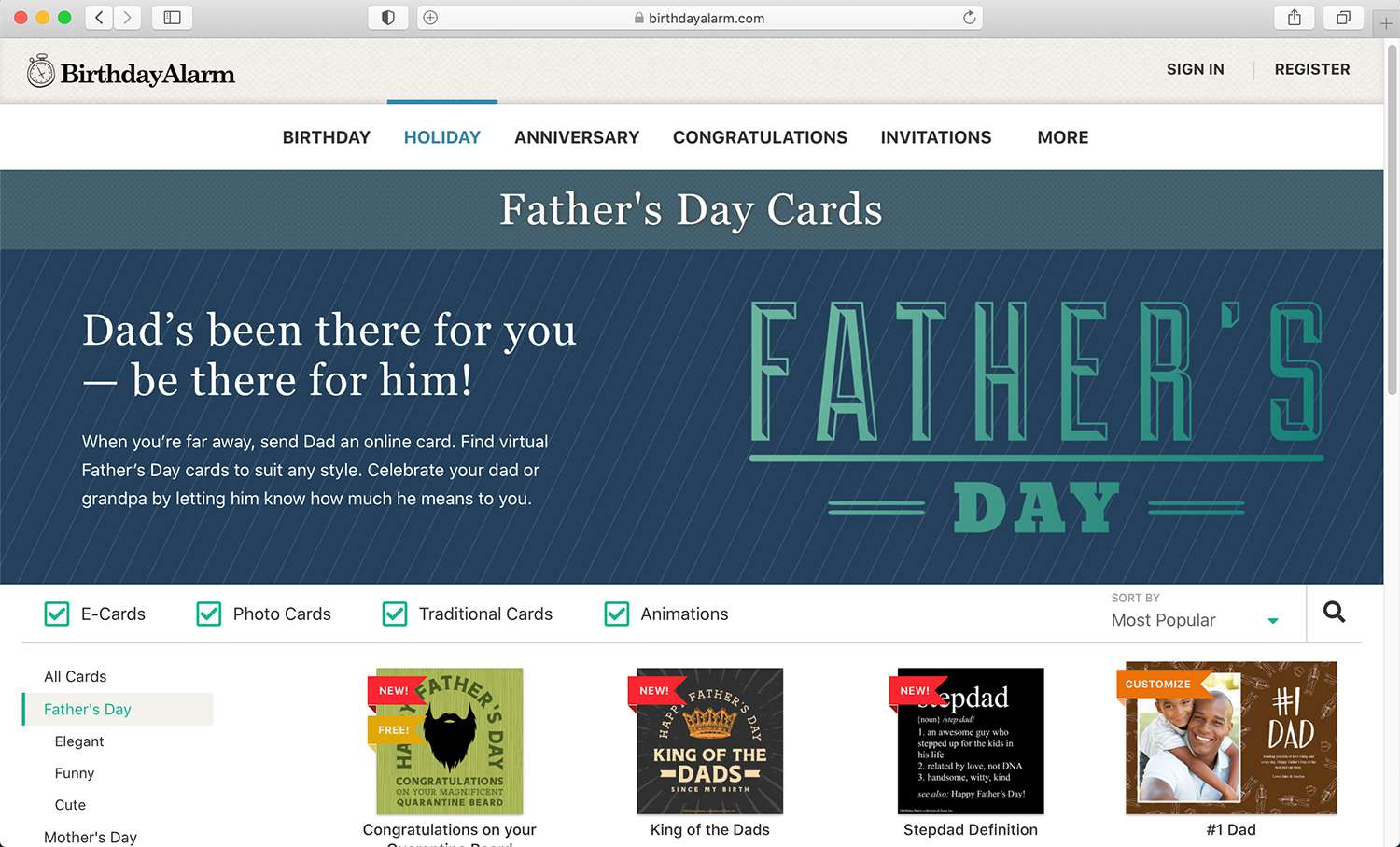 BirthdayAlarm e-card site for Father's Day and other special holidays