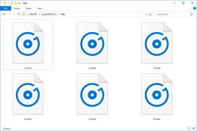 Screenshot of several WMA files in Windows 10