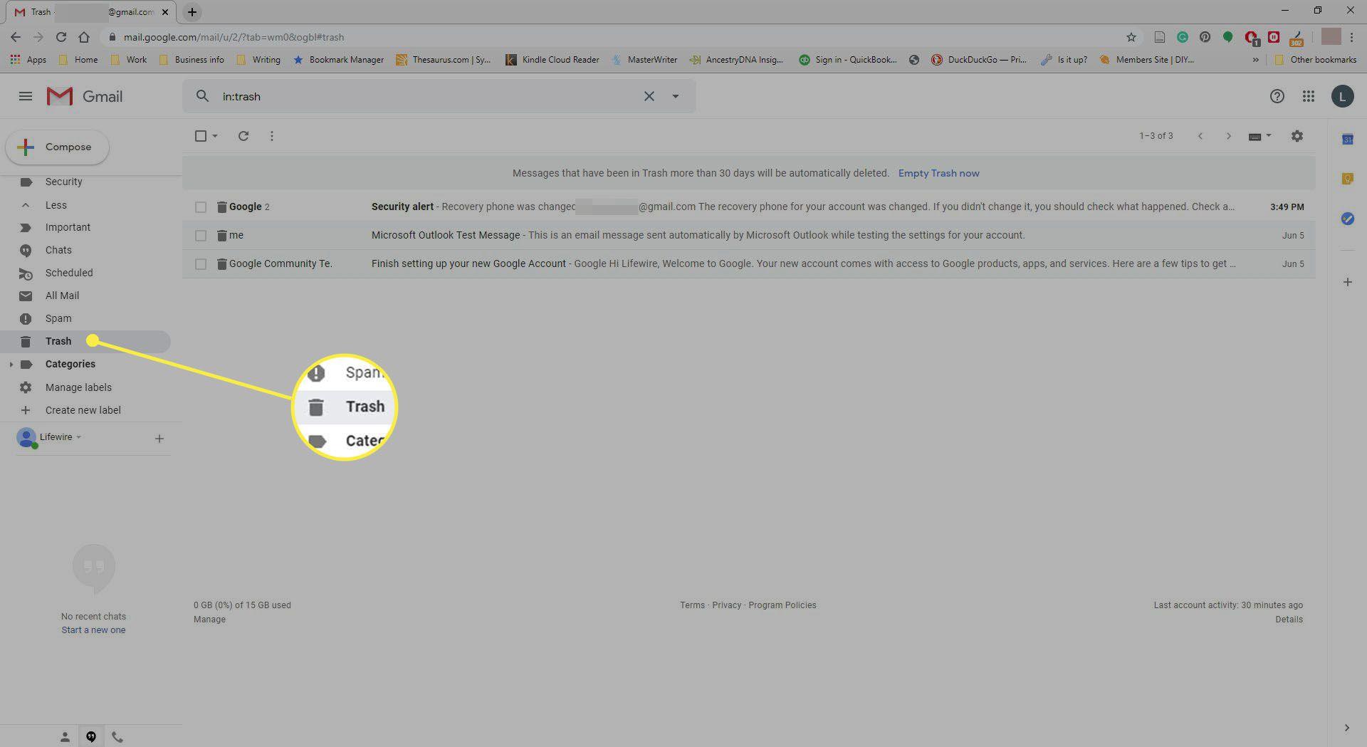 Gmail Trash Folder.