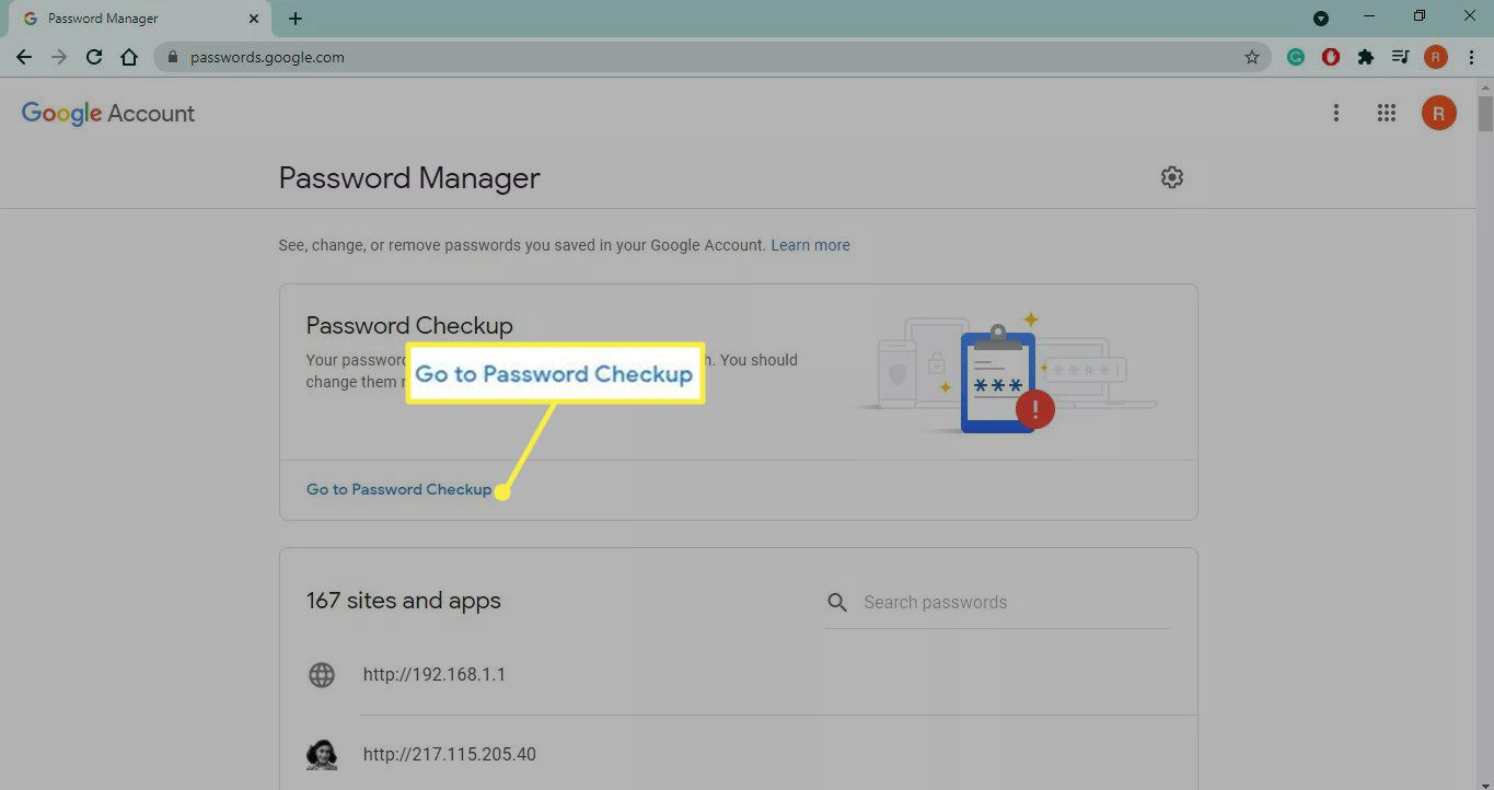 Go to Password Checkup highlighted in Google Password Manager for Google Chrome