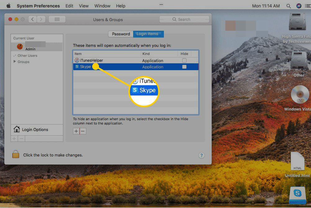 Login Items settings on a Mac with Skype highlighted