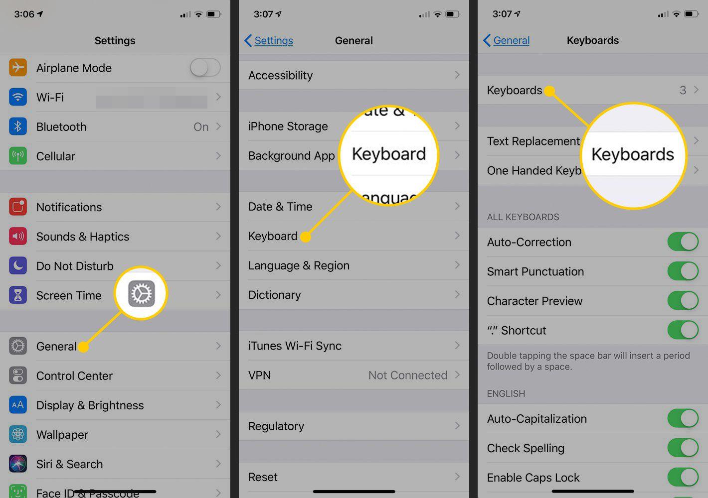 Keyboards settings in iOS