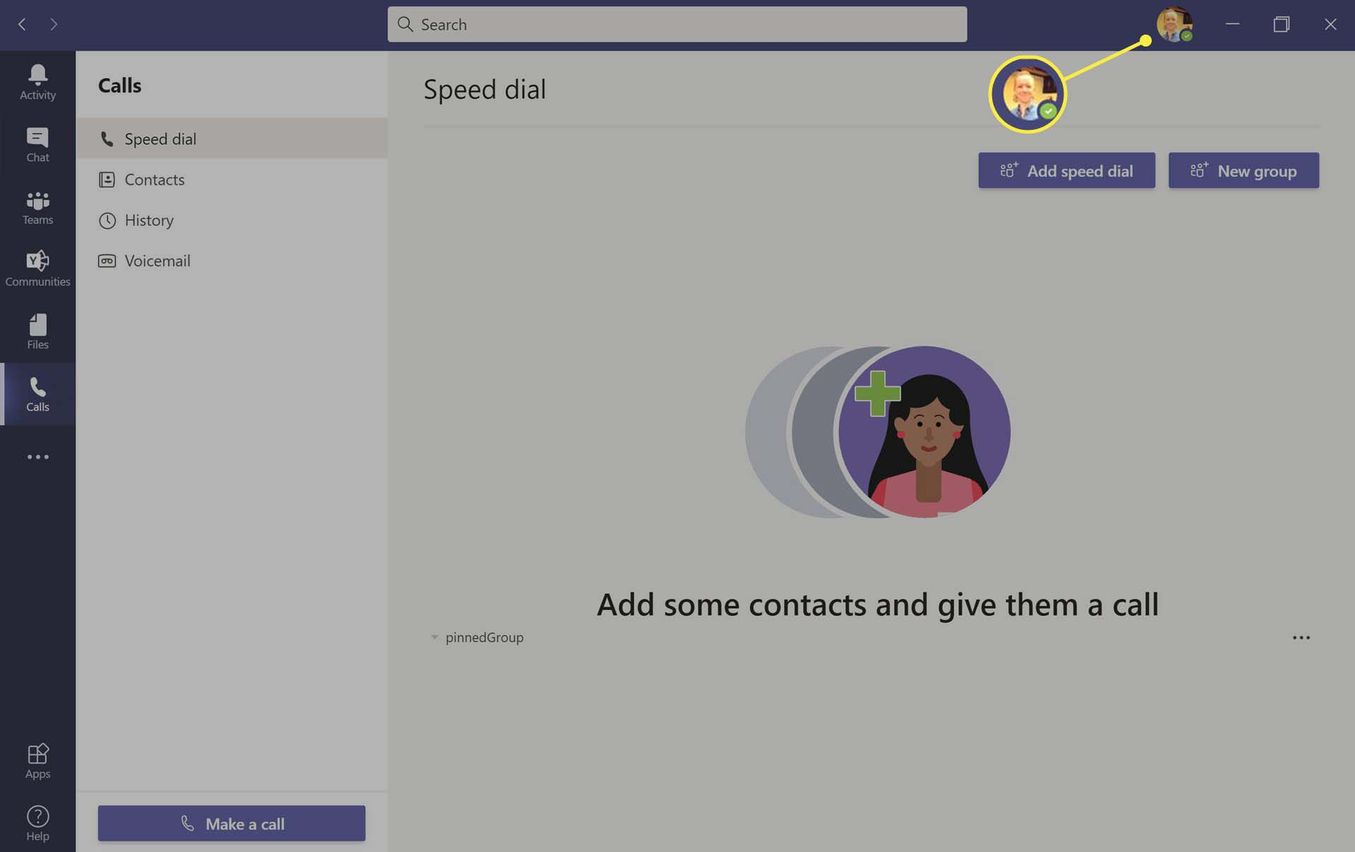 User profile icon highlighted on Microsoft Teams app on Windows 10.