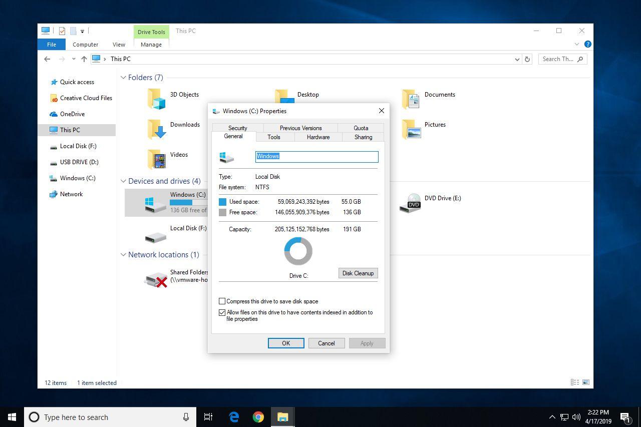 Hard drive properties in Windows 10
