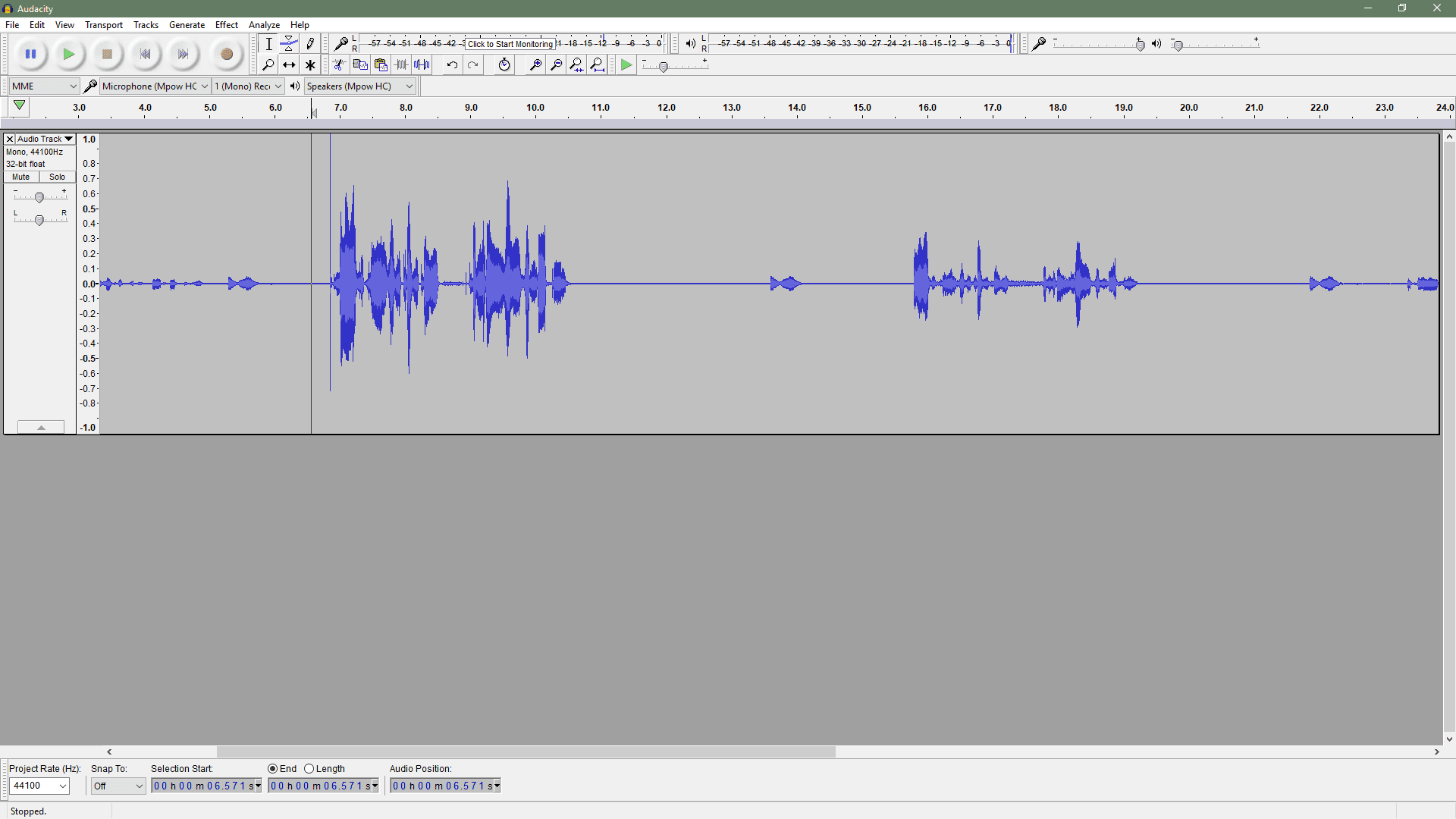 audacity monitor while recording