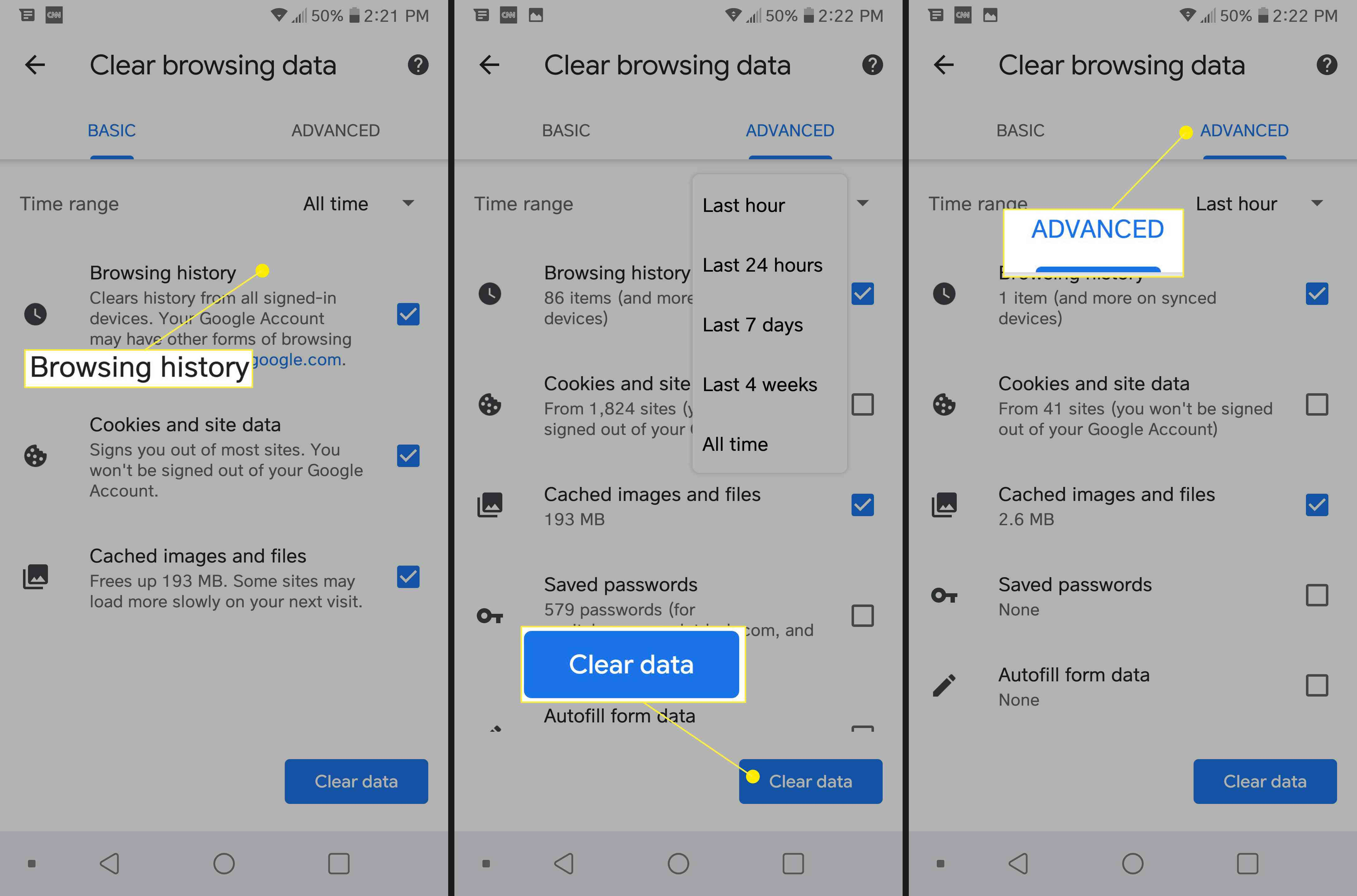 Clear browsing data on Android