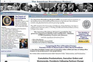 Screenshot of the American Presidency Project website.