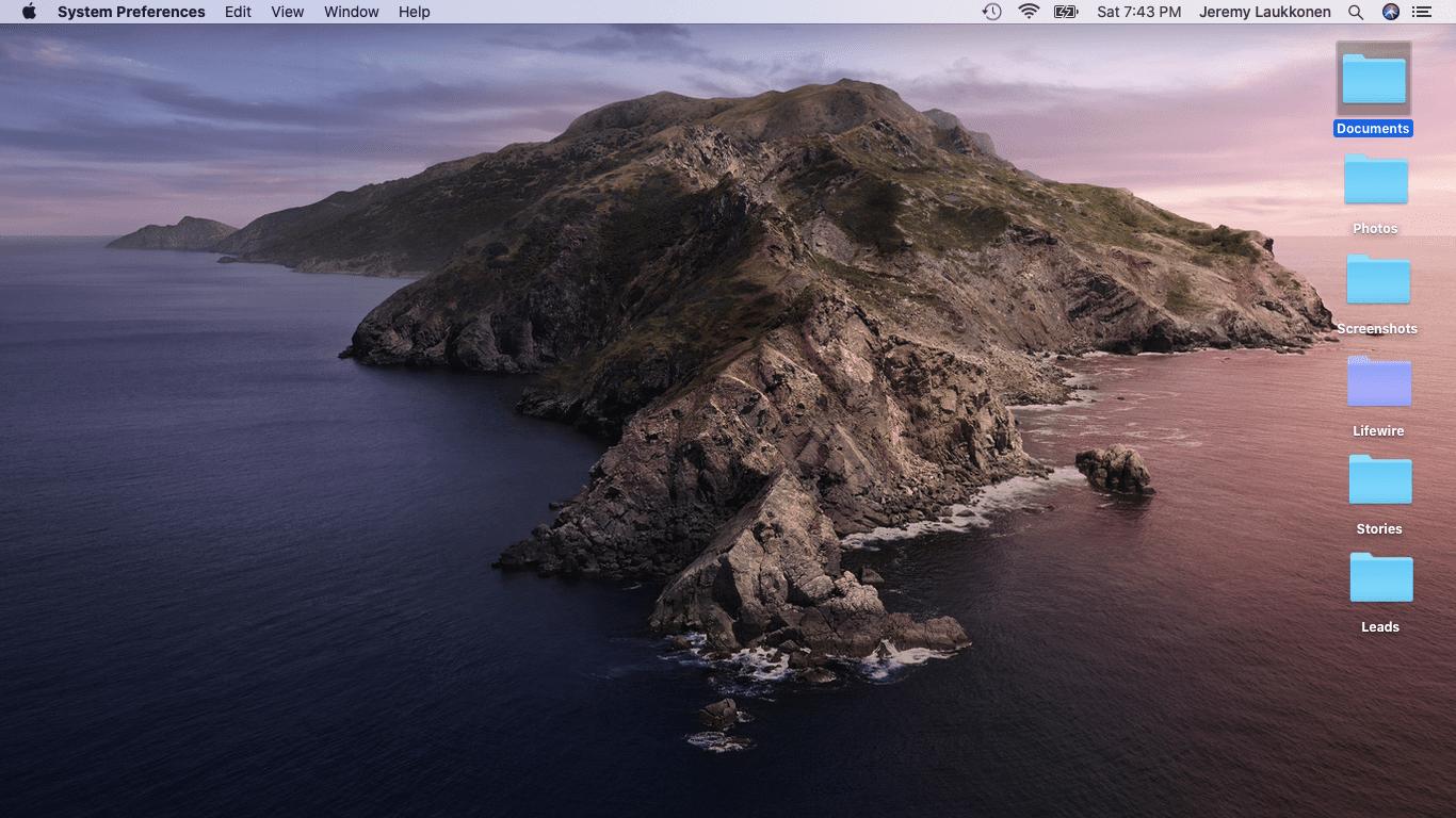 The macOS desktop.