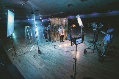 Studio setup with multiple cameras and lights