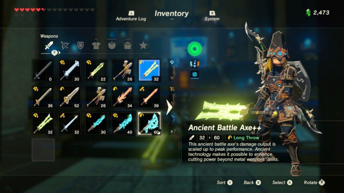 Ancient Battle Axe++ in the inventory screen in Zelda BOTW