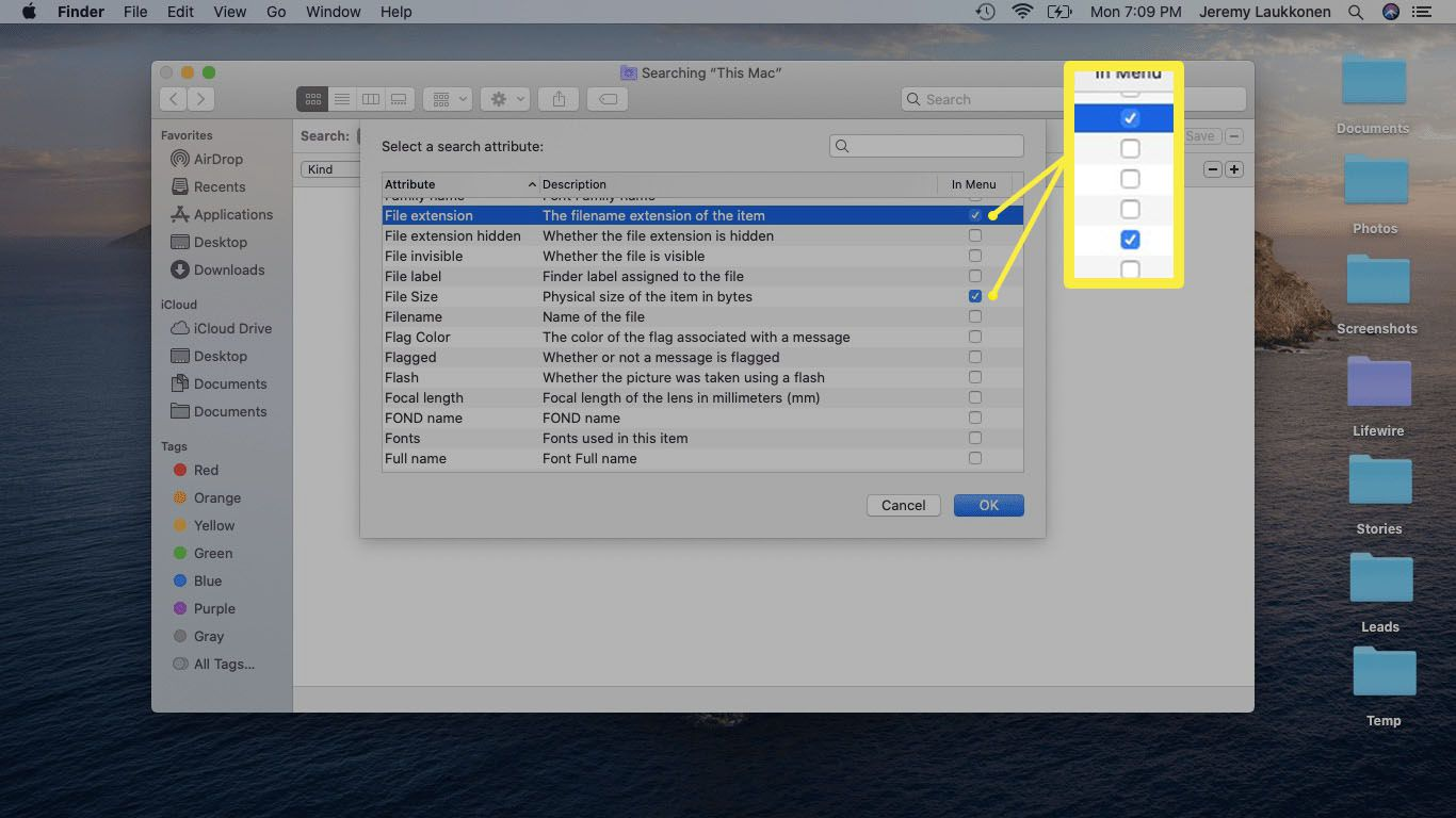 A screenshot of a Finder search attributes on macOS.