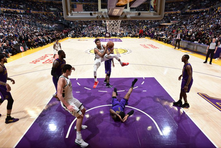 The Bucks take a shot against the Lakers ahead of the 2019 NBA playoffs