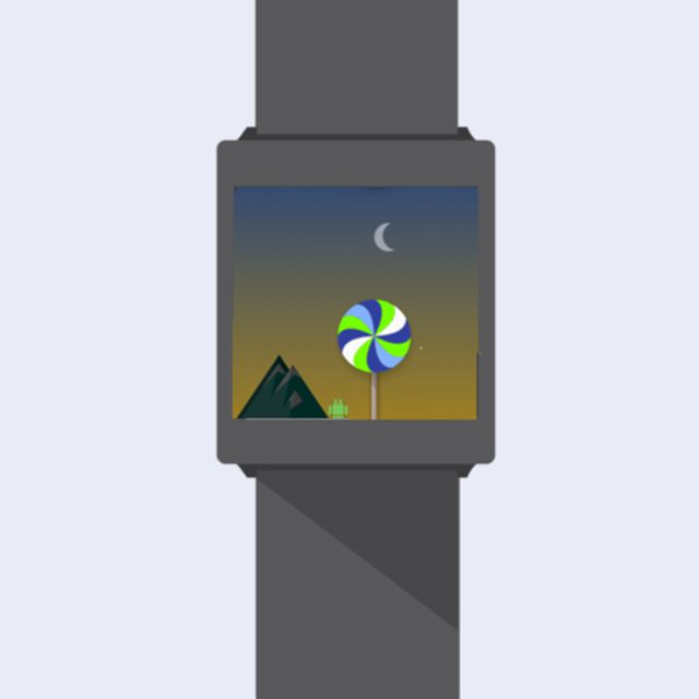 A screenshot of the Wear game Bugdroid Land on an illustrated smartwatch