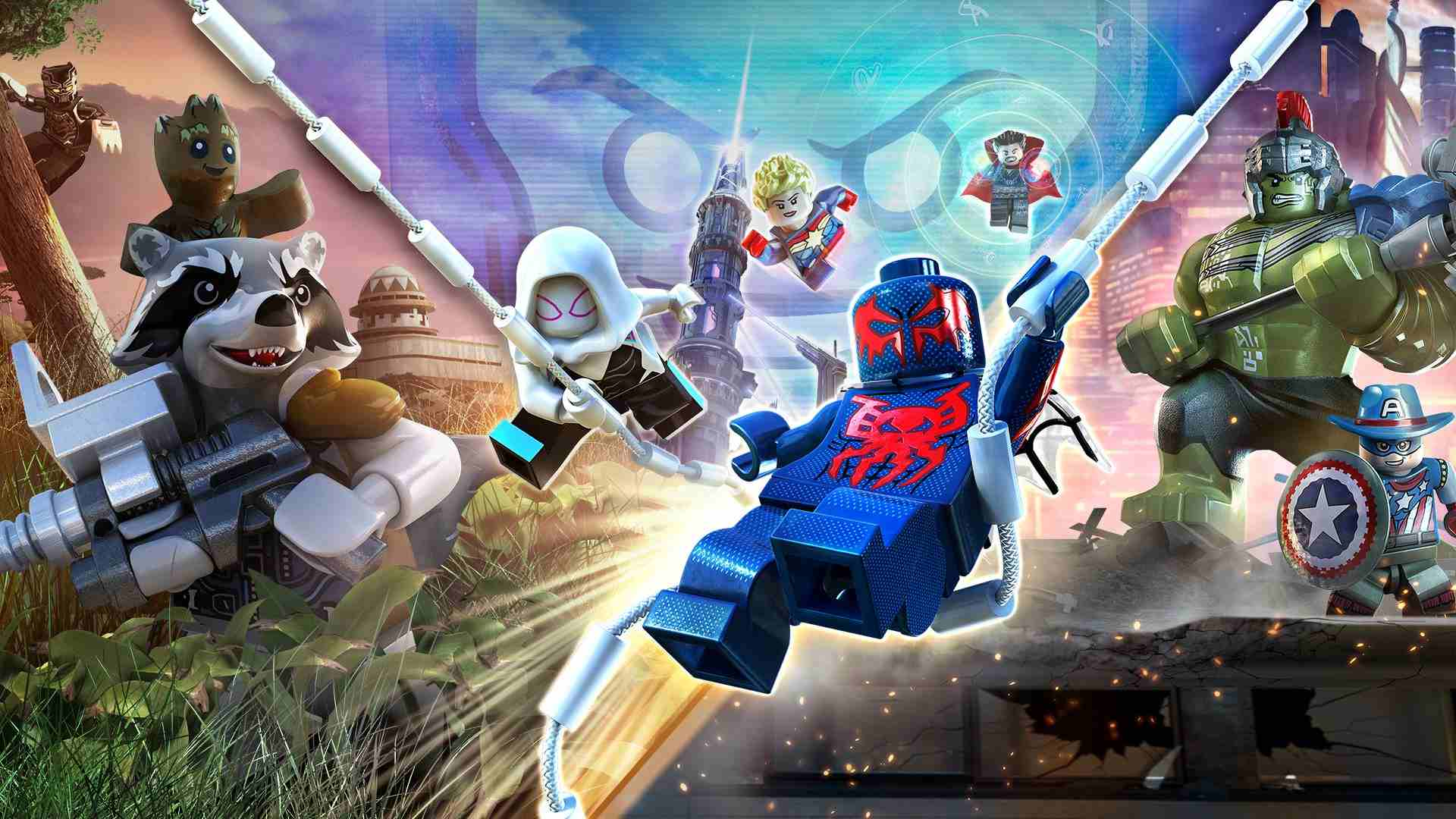 LEGO Marvel Superheroes 2 video game on Xbox One, Nintendo Switch, PS4, PC, and macOS.