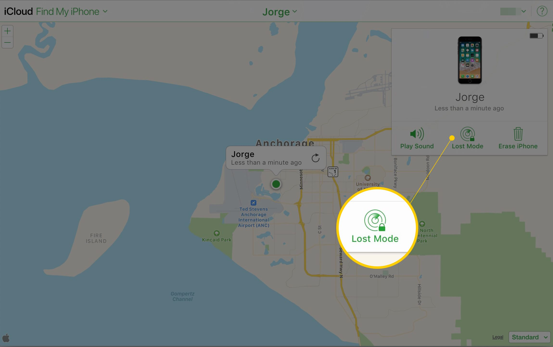 Lost Mode button in Find my iPhone via iCloud website