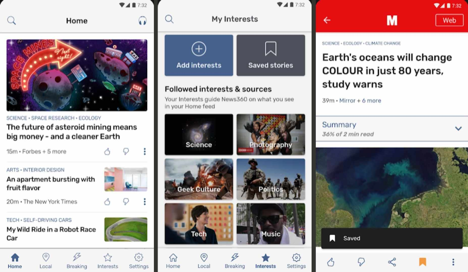 Three screenshots of News360 for Android.