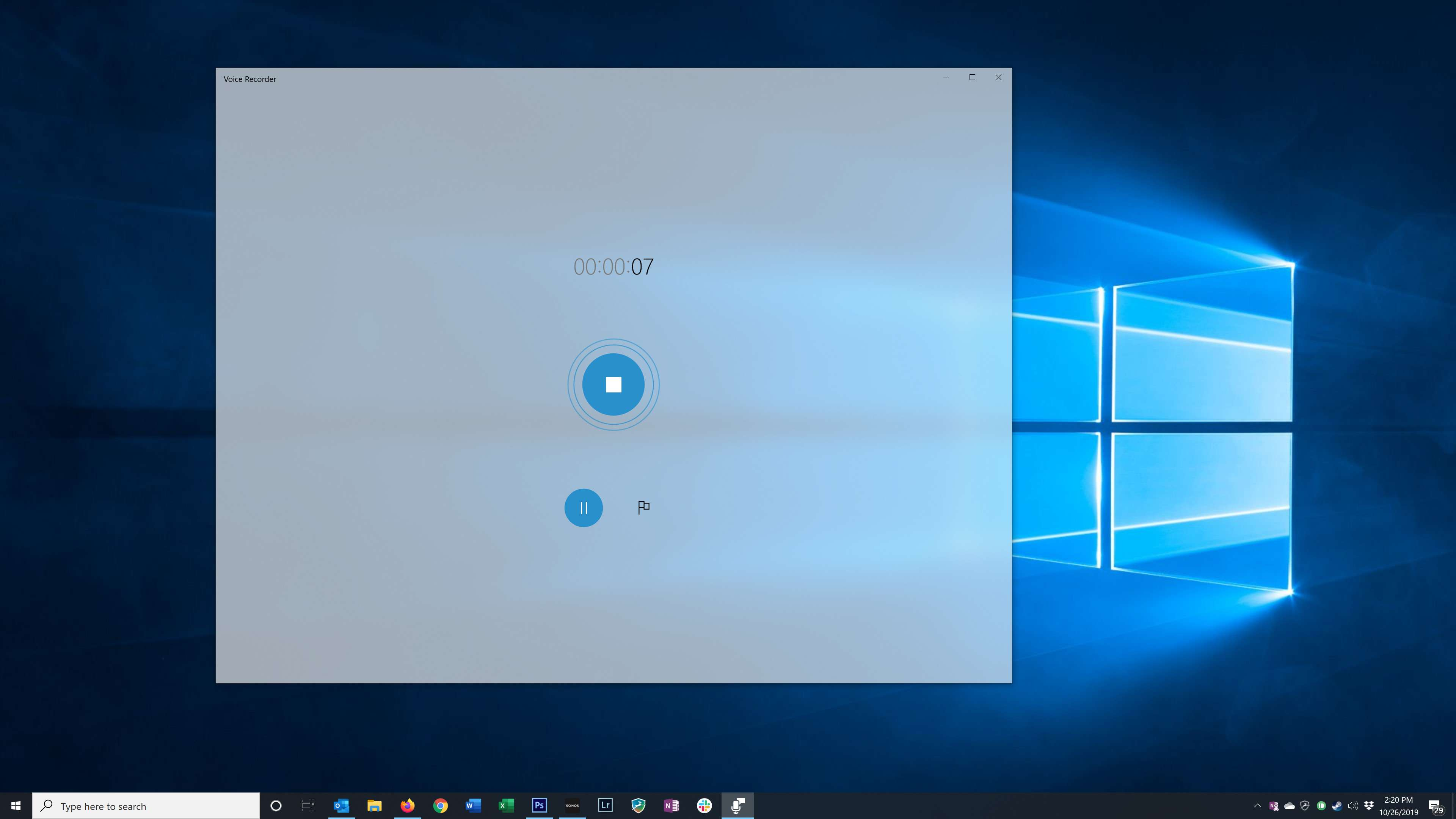 The recording screen in the Windows Voice Recorder app