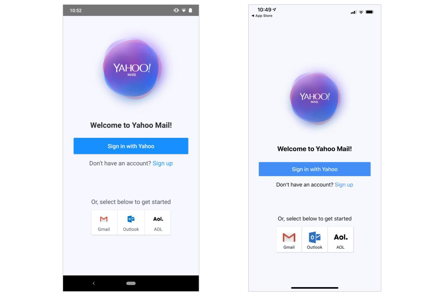 Screenshot of sign in screen for Yahoo Mail app (Android on left; iOS on right)