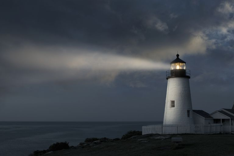 Lighthouse projecting light beam
