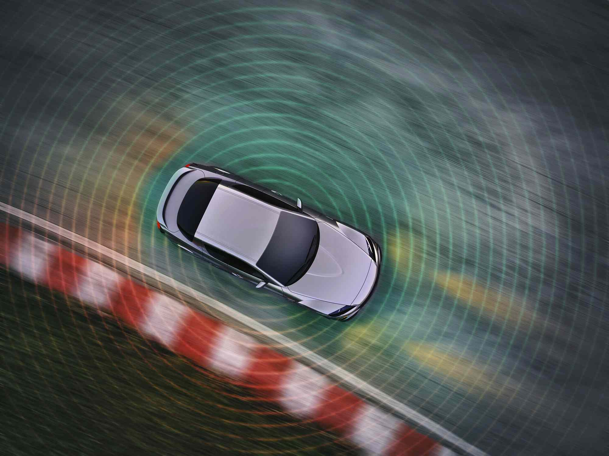Car driving autonomously with LIDAR sensor