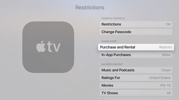 Apple TV iTunes parental controls