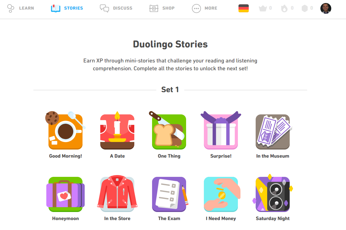 Duolingo Stories for English to German learners