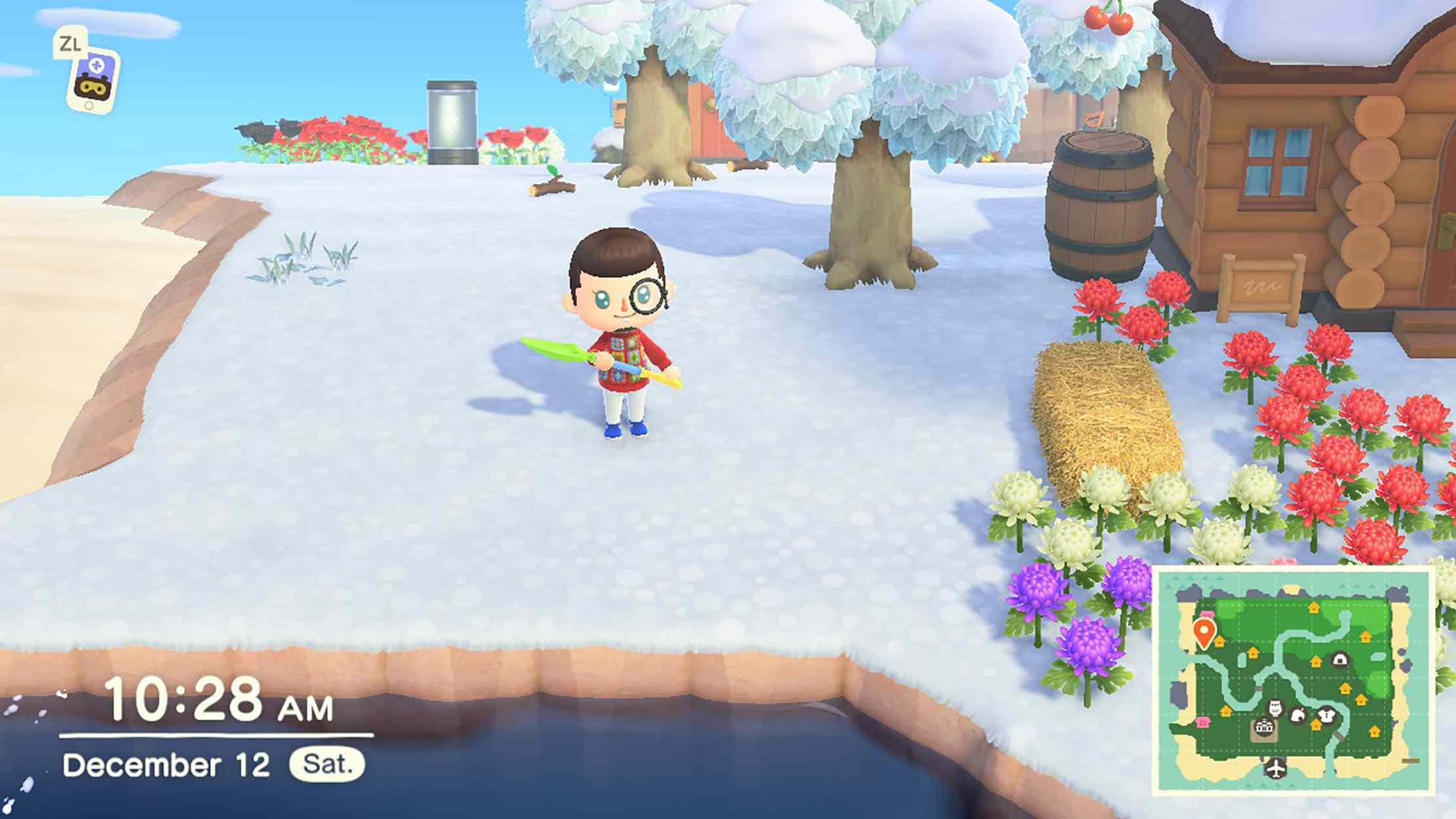 Screenshot of Animal Crossing New Horizons character with a shovel
