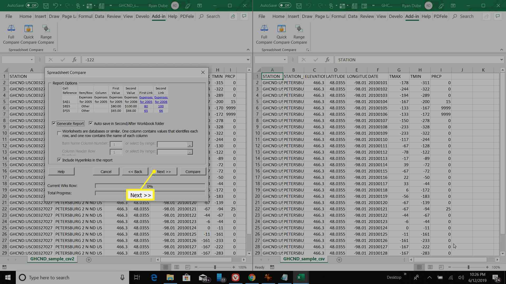 Report configuration review screen in Excel