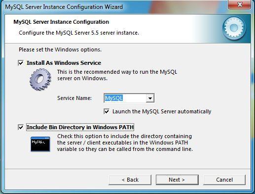 MySQL install configuration screen