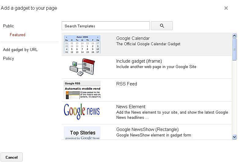 Add a Google Calendar gadget