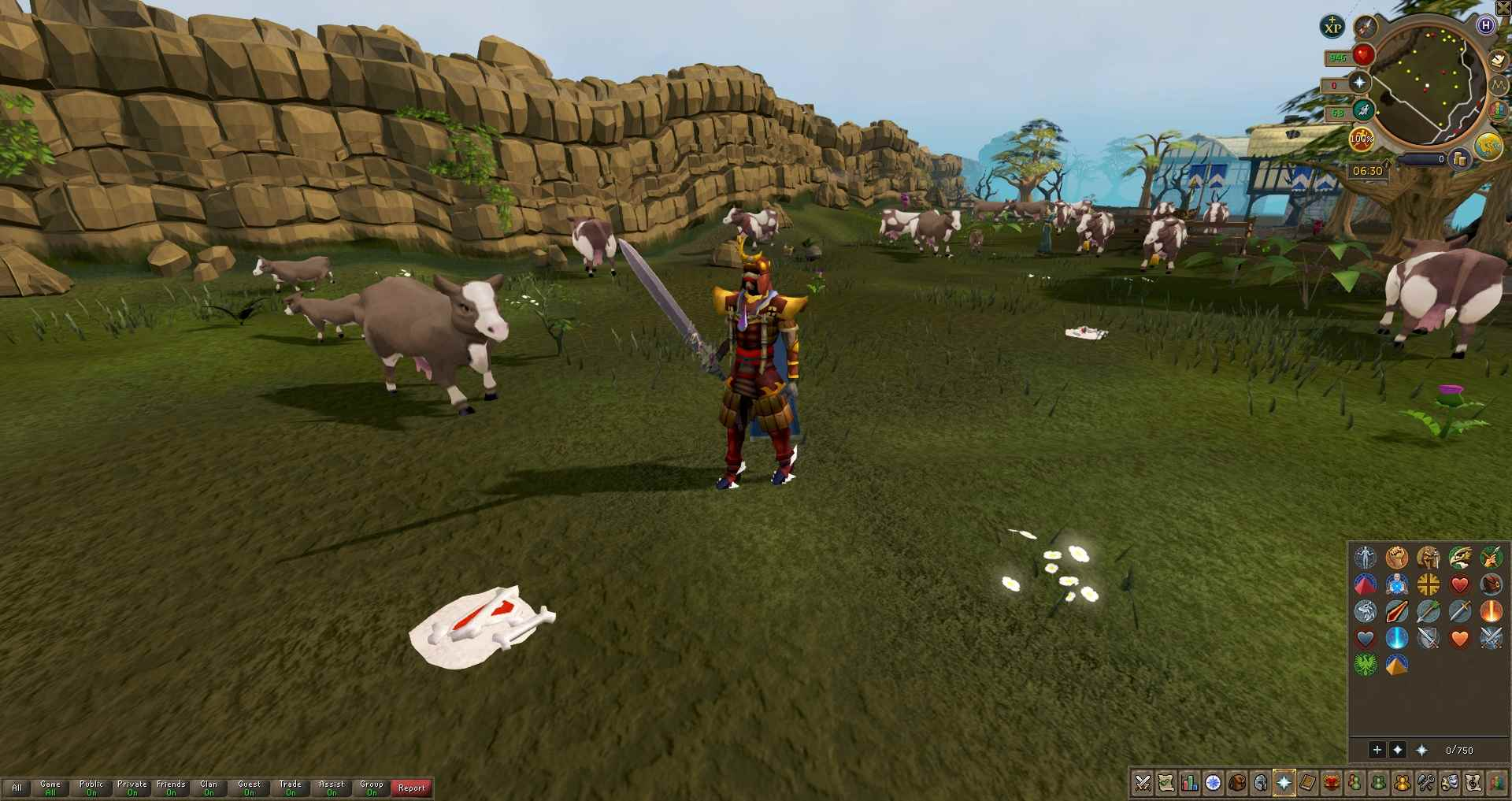 A players fight cows in RuneScape