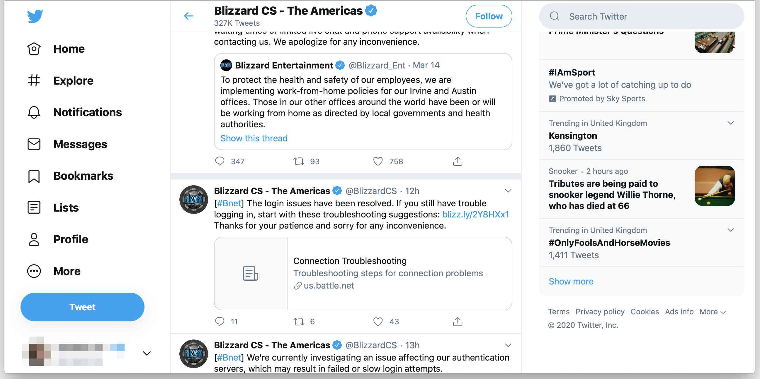 Blizzard customer service account on Twitter