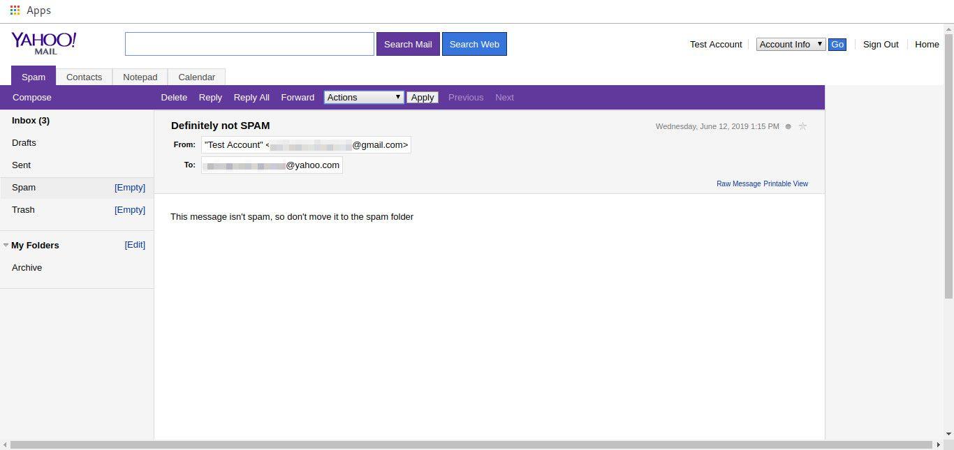 Yahoo Basic mail message