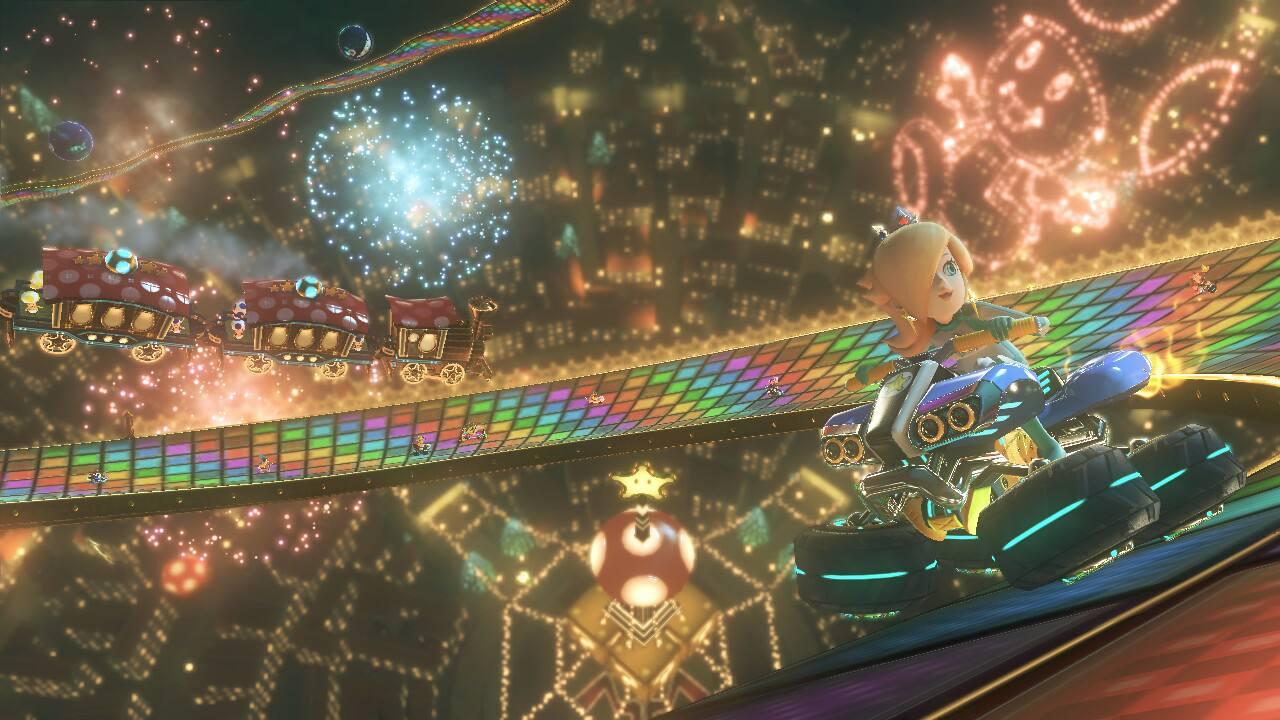 Mario Kart 8 - Rainbow Road gameplay