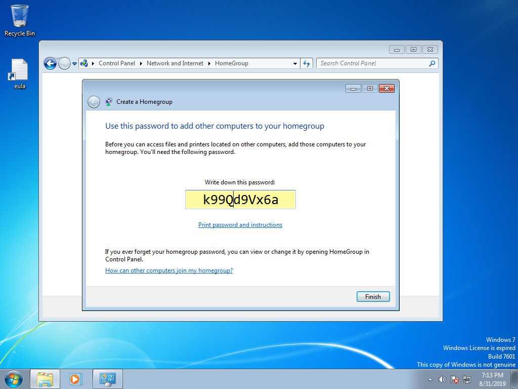 Windows 7 homegroup created with password
