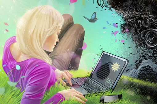 Woman using laptop with time bomb