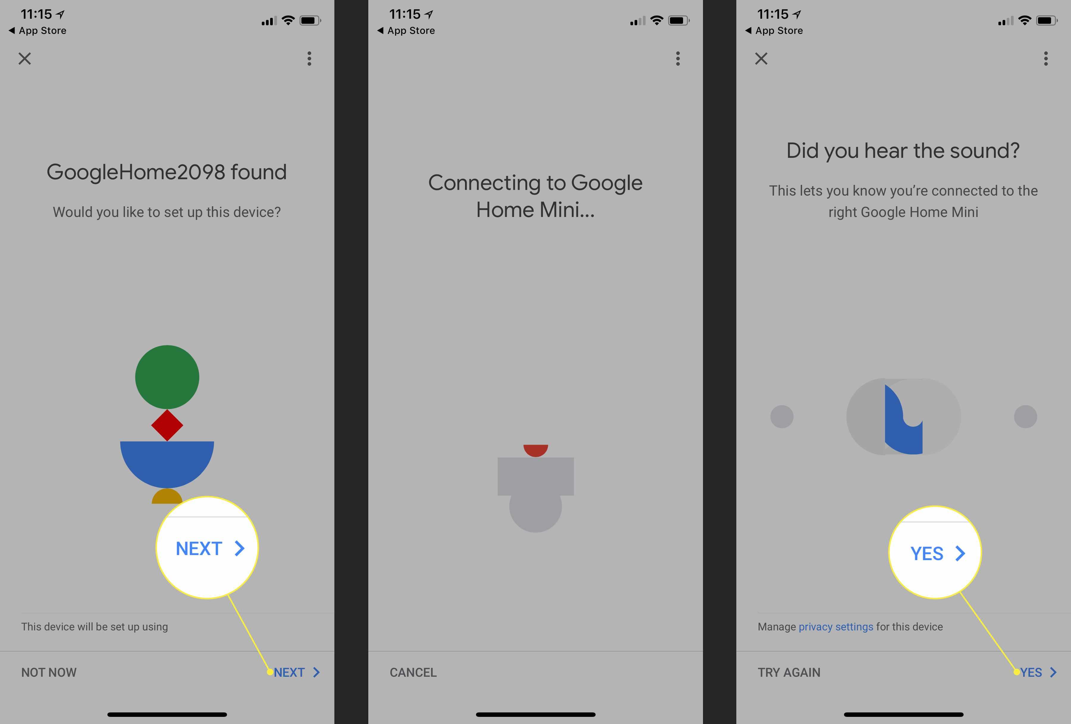 The speaker test in Google Home