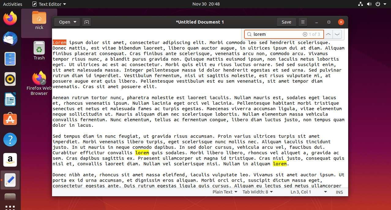 Linux gedit find