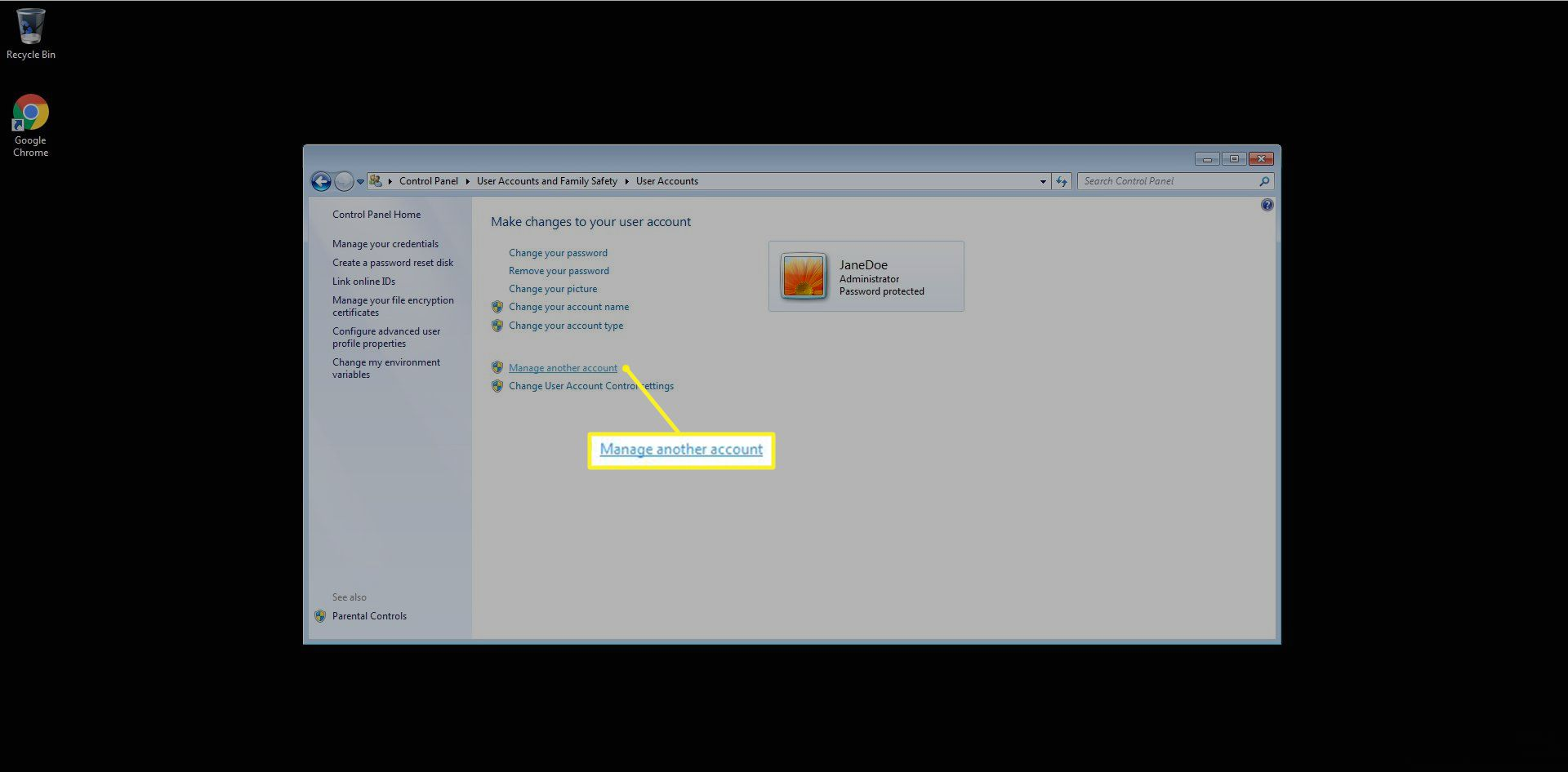 Selection to manage another account in Windows 7